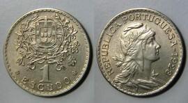 160a KM#578 Portugal - 1 Escudo 1928 (Alpaca)