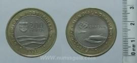 468k KM#694 Portugal - 200 Escudos 1997 Expo 98 Golfinhos (Bimetal)